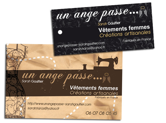 Cration Et Impression Carte De Visite Tiquettes Pour Sarah Gaultier Cratrice Vtements Femme Chez Un Ange Passe